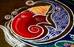 Ganpati Rangoli Designs for Diwali Latest Rangoli Designs Images, Simple Rangoli Designs Images, Rangoli Patterns, Free Hand Rangoli Design, Small Rangoli Design, Rangoli Border Designs, Rangoli Ideas, Rangoli Designs Diwali, Diwali Rangoli