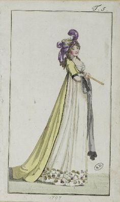 1797 open gown over white gown with polychrome embroidered hem. Turban