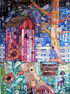 Recycled art project, love the use of logos! gilbertDIY.wordpress.com pinterest.com/gilbertDIY
