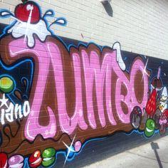 Adriano Zumbo Pattisserie, Rozelle, Sydney grafitti style wall outside pattisserie Adriano Zumbo, Sydney, Restaurants, To Go, Shops, Neon Signs, Australia, Lettering, My Favorite Things