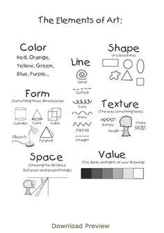 Elements of Art and Design Arte Elemental, Elements And Principles, Elements Of Design, 7 Elements Of Art, Art Handouts, Art Basics, Art Worksheets, Art Curriculum, Learn Art