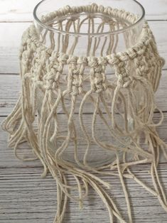 DIY Macrame Candle Holder Tutorial - Crafting on the Fly #ca