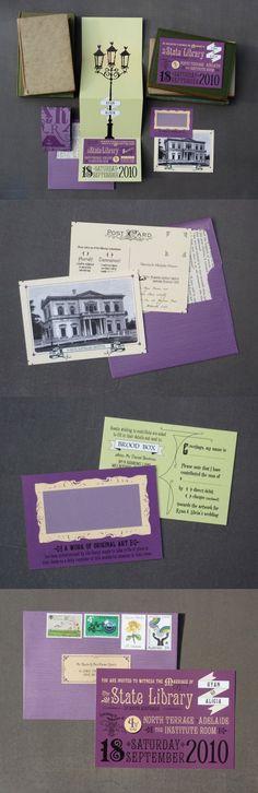 Victorian Library Wedding Invitations..