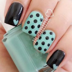 Fun finger nails in teal, black, polka dots patterns w/ hearts Get Nails, Fancy Nails, Love Nails, How To Do Nails, Pretty Nails, Hair And Nails, Fabulous Nails, Perfect Nails, Sinful Colors