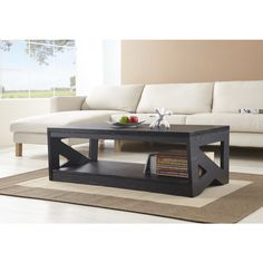 Furniture of America Hotchner Contemporary Black Open Storage Coffee Table | Overstock™ Shopping - Great Deals on Furniture of America Coffe...