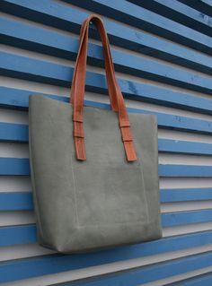 Кожаная сумка серая