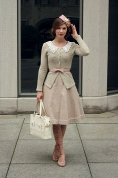Pale pink + oatmeal sweater + lace collar {Fanny Rosie}