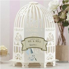 Geldbox / Briefbox cremefarben Vogelkäfig im Vintage Style - ideal für Kuverts, Hochzeitskarten & Geldgeschenke zu Ihrer Hochzeit: Amazon.de...