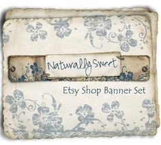 Etsy Shop Banner - Naturally Sweet in Rustic Blue - banners, profile picture, avatar, reserved & special order