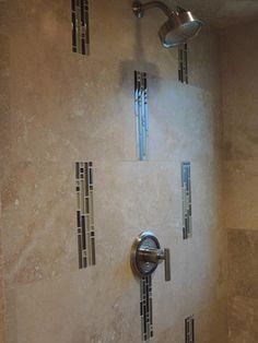 Matte Finish Variegated Color Subway Tile Bathroom