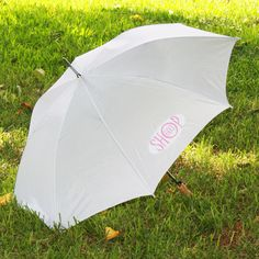 @ShopAndThinkBig.com - Need a custom logo on your new solid white umbrella? We have the solution for you! Now you can get custom print and personalized umbrellas at a fraction of the retail price! Our HT process (Heat Transfer) can quickly create a logo with up to 1,000 colors and permanently press it onto the 100% polyester umbrella. This process, unlike traditional screen and pad printing, can produc……