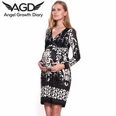 Find More Dresses Information about Spring Autumn Pregnant Woman Maternity Dress Black Long Sleeve Dress Large Size European American Retro Printing V neck Dress,High Quality dress read,China dress right dress Suppliers, Cheap dress patterns prom dresses from Angel Growth Diary on Aliexpress.com