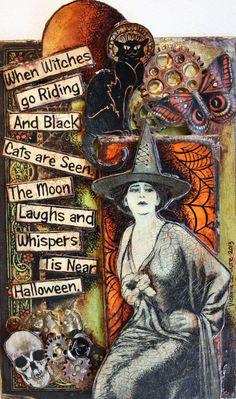 When Witched go riding And Black Cats are seen The Moon Laughs and Whispers … – Halloween Ideen Retro Halloween, Vintage Halloween Cards, Vintage Halloween Decorations, Halloween Crafts, Halloween Poems, Halloween Costumes, Halloween Stuff, Halloween Makeup, Happy Halloween Quotes