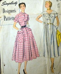 Vintage 1950's Dress Sewing Pattern Simplicity 8260  Misses' One Piece Dress and  Size 12 Bust 30 in...