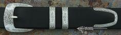 """4-Piece Ranger Belt Buckle Set """"1860-R"""" Hand Engraved Solid Sterling Silver 'Mission'"""