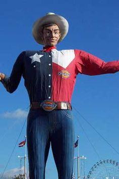 Big Tex was a 52-foot tall statue and marketing icon of the annual State Fair of Texas held at Fair Park in Dallas, Texas. The figure has become a cultural icon of Dallas and Texas. Since 1952 Big Tex has served as a cultural ambassador to visitors, and the prime location in the fairgrounds serves as a traditional meeting point.  On October 19, 2012, the last weekend of the 2012 State Fair of Texas, Big Tex was destroyed by fire.  ~RIP Big Tex~
