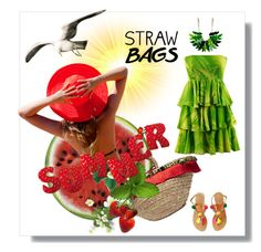 """Carry On: Straw Bags"" by kari-c ❤ liked on Polyvore featuring Round Towel Co., Dolce&Gabbana and strawbags"
