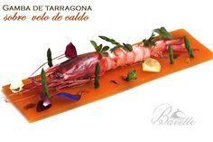 Gamba de Tarragona sobre gelatina de caldo