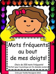 """Les enfants ADORENT lire les mots fréquents sur ces """"mains"""" affichées autour de la classe ou ajoutées aux ateliers de littératie!"""