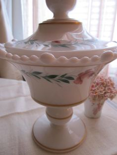 Vintage White Milk Glass covered compote by VandyleeVintage, $32.99