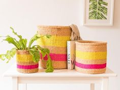MAZAO | Yellow and Neon Pink Stripe Basket Hand Woven in Kenya – The Basket Room