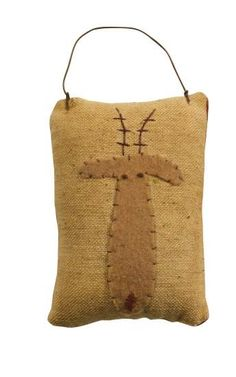 Homespun Christmas Ornaments | Primitive Rudolph Mini Pillow Ornament - Primitive Buyout Click to See ...