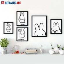 AFFLATUS Nordic Miffy Rabbit Wall Pictures Canvas Painting Wall Art Painting Watercolor Prints Poster Kids Room Home Decor(China (Mainland))