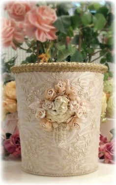 1000 images about trash never looked this good gorgeous trash cans on pinterest decoupage - Shabby chic wastebasket ...