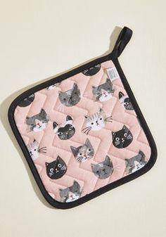 Cat Buy Me Love Pot Holder in Pink