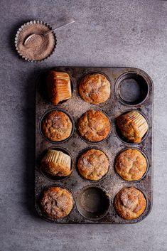 Banana, date and pecan muffins with cinnamon sugar