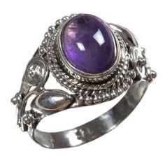 Amethyst 925 Solid Sterling Silver Natural Gemstone US Size 6 JSR-1680 #Handmade #Ring