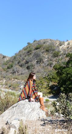 Suzanne Santo of Honey Honey in Pendleton Blanket Shawl and BedStu boots