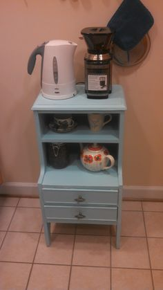 My new kitchen stand / coffee station from Freecycle after a little sanding and some Martha Stewart Aegean Blue paint (it's a good thing) Decor, Furniture, Redo Furniture, Coffee Station, Kitchen Stand, Decor Inspiration, Home Decor, New Kitchen, Blue Paint