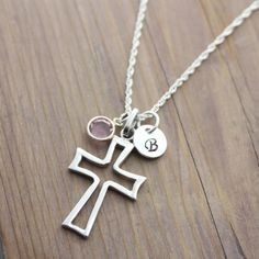 Sterling silver Cross Necklace Personalized Gift by LifeOfSilver, $36.80