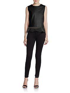 Leather & Silk Tierney Top - SaksOff5th