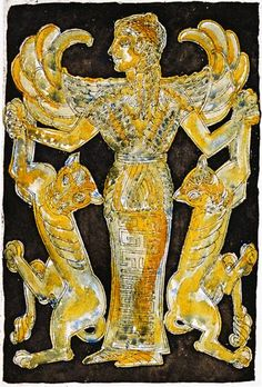 Scythian goddess Argimpasa is the goddess of both human and animal fertility and abundance. Greeks associated her with Aphrodite. She is known for her images as the queen of animals.