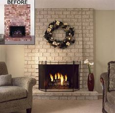 Brick Fireplace after painting with Brick Anew paint kit