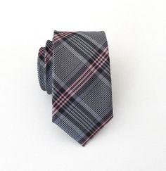 Skinny Tie Gray and Pink Plaid Skinny Necktie by TieObsessed, $19.95