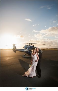 Helicopter themed wedding photos at Kualoa Ranch Oahu Hawaii