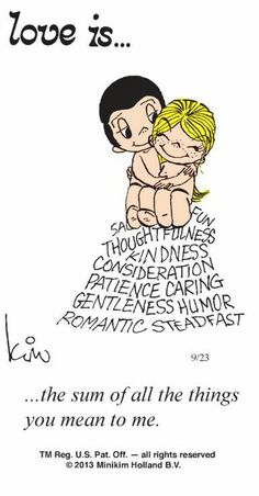 """Love is... The sum of all the things you mean to me"" comic strip by Kim Grove Casali"