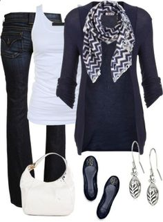 great summer/fall outfit just make it black slacks and a regular tee or tank and black sweater. Only worry, getting blacks that go together. Scarf you do easy..
