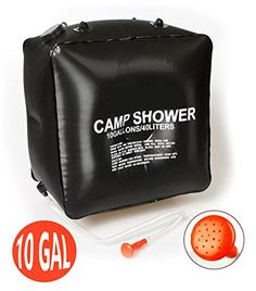 Portable Camping Shower Bag 10 Gallon40 Litter Solar Heated Portable Shower Bag for CampingHiking Lightweight Solar Shower Bag for Outdoor Activity >>> You can find more details by visiting the image link.