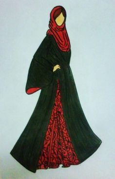 abaya design The one instance I would insist upon wearing red & not another colour Islamic Fashion, Muslim Fashion, Modest Fashion, Unique Fashion, Fashion Outfits, Hijab Fashion Inspiration, Style Inspiration, Abaya Pattern, Abaya Designs