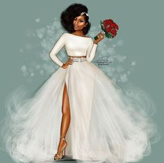 african wedding dresses illustration by reception dress AKSCIGI by laviye - 2019 Dresses, Skirt, Shirts & Black Girl Art, Black Women Art, Black Girl Magic, Art Girl, African Wedding Dress, Wedding Dresses, Hair Wedding, Natural Hair Art, African American Weddings