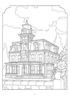 Artwork by Daniel Lewis. The Victorian House Coloring Book, Dover Publications. House Colouring Pages, Coloring Book Pages, Printable Coloring Pages, Coloring Sheets, Printable Art, Printables, Art Pages, Victorian Homes, Line Drawing