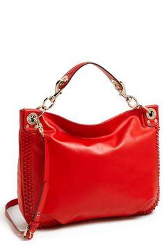 Rebecca Minkoff 'Luscious - Mini' Studded Leather Hobo Scarlet