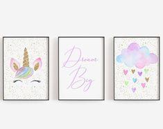 Printable Shower and Party Invitations, Games, Cards by OhBabyTemplates Unicorn Wall Art, Unicorn Rooms, Printable Quotes, Printable Wall Art, Unicorn Birthday Parties, Girl Birthday, Unicorn Printables, Diy Artwork, Wall Art Decor