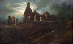 Ruins of Fort Ticonderoga, Lake George, Circa 1875.  Oil on wood panel, 12.75 x 21.75 inches.  Signed lower right: Robt. D. Wilkie.  Titled by the artist on the verso.