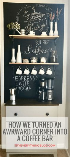Ideas Apartment Kitchen Bar Decor Coffee Area For 2019 Wine And Coffee Bar, Coffee Bar Home, Coffee Station Kitchen, Dyi Coffee Bar, Office Coffee Station, Coffee Counter, Office Bar, Coffee Area, Coffee Nook