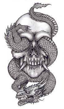 Skull and reptile 1 by tjiggotjurring on DeviantArt – skull tattoo sleeve Dragon Tattoo With Skull, Tatto Skull, Skull Tattoo Design, Dragon Tattoo Designs, Tattoo Sleeve Designs, Sleeve Tattoos, Tattoo Design Drawings, Tattoo Sketches, Neue Tattoos